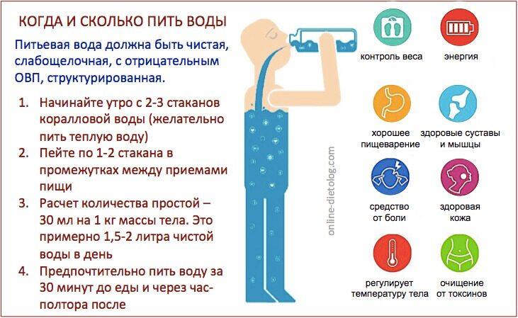 Когда и сколько пить воды, рекомендации диетолога. Коралловая вода для похудения